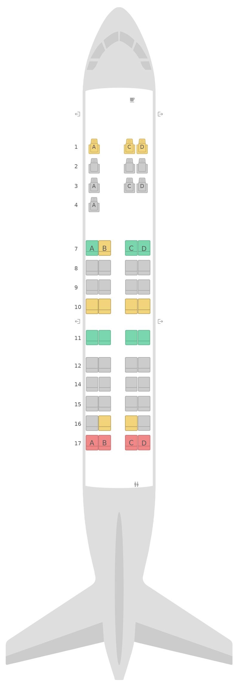 Mapa de asientos Bombardier CRJ550 United