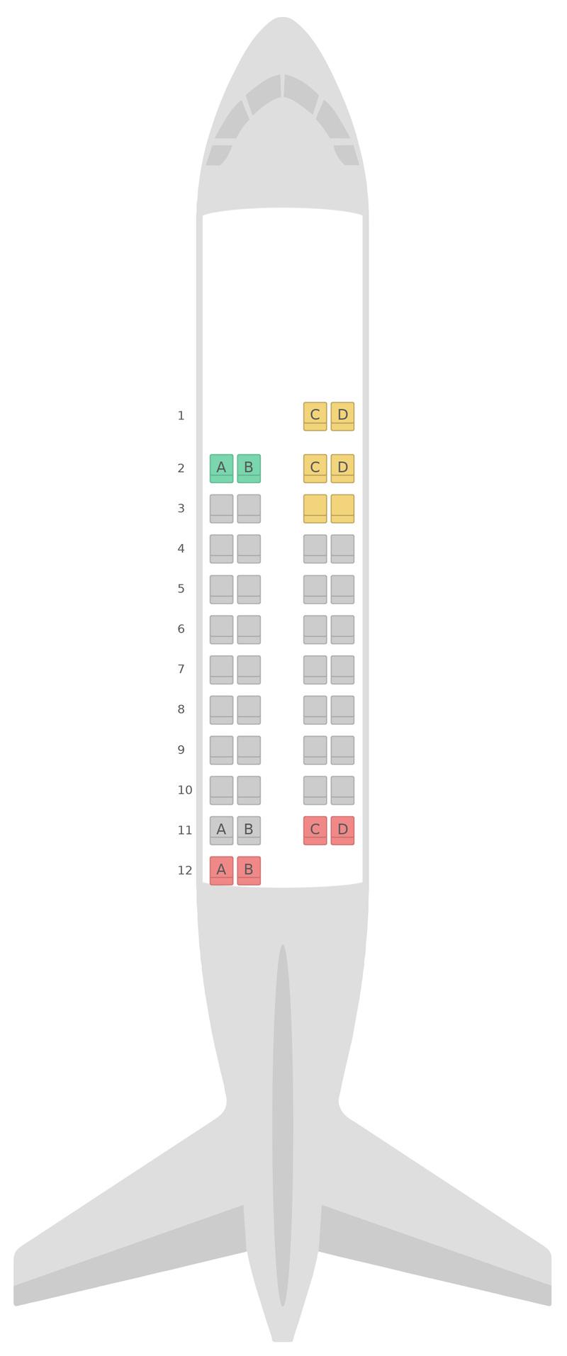 Схема салона АТР 42-600 (AT6) Fiji Airways