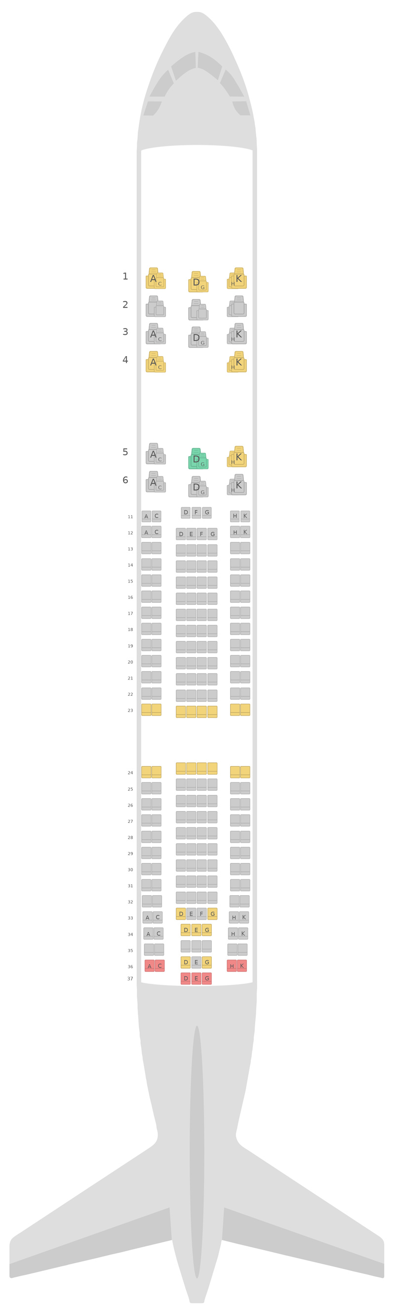 Схема салона Аэробус А330-200 (332) v1  Аэрофлот