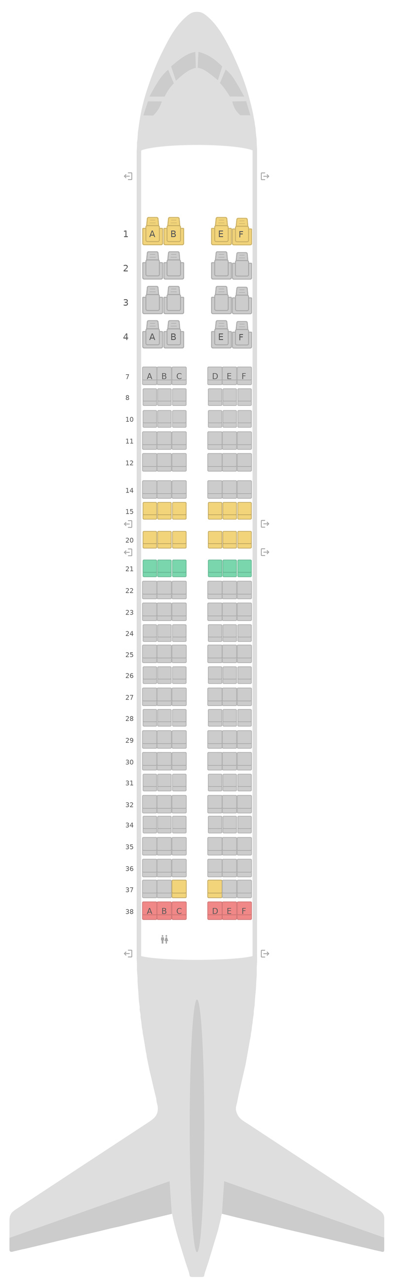 Mapa de asientos Boeing 737-800 (738) v3 United
