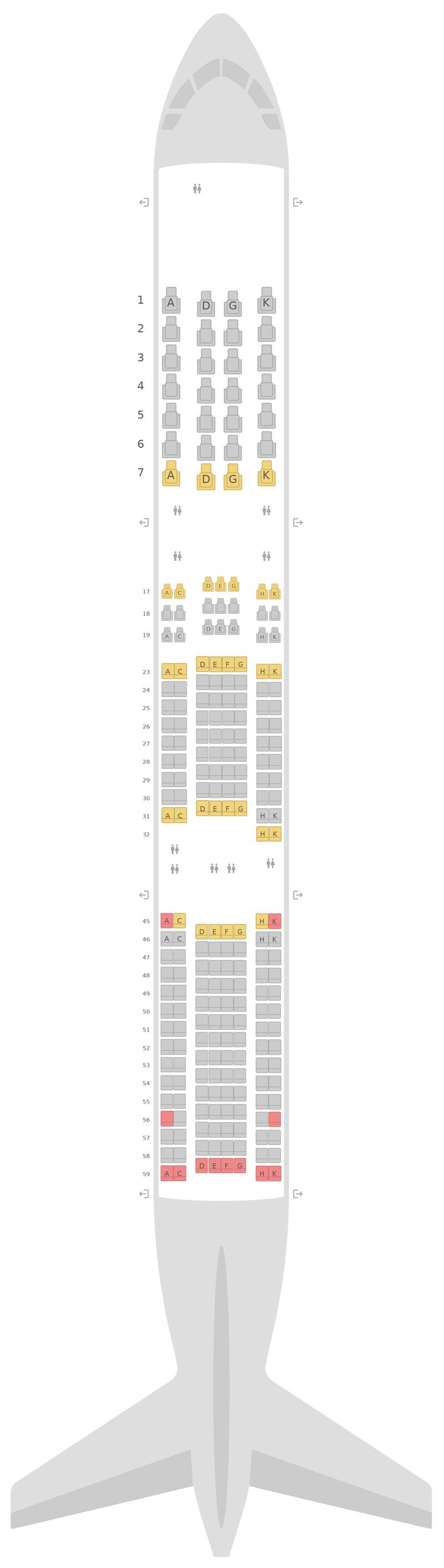 Sitzplan Boeing 787-9 (789) v1 Japan Airlines (JAL)