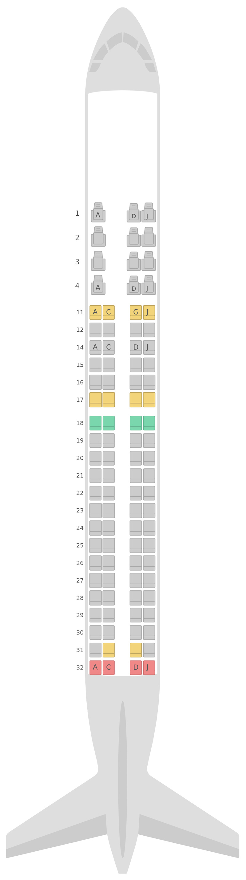 Seat Map Kenya Airways Embraer E190 (E90)