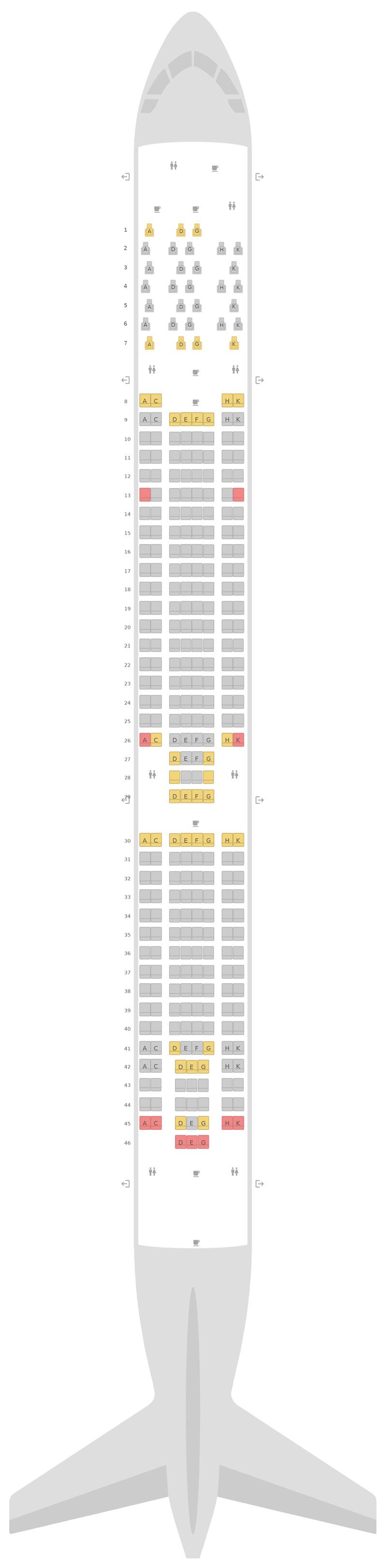 Mapa de asientos Airbus A330-300 (333) Aer Lingus