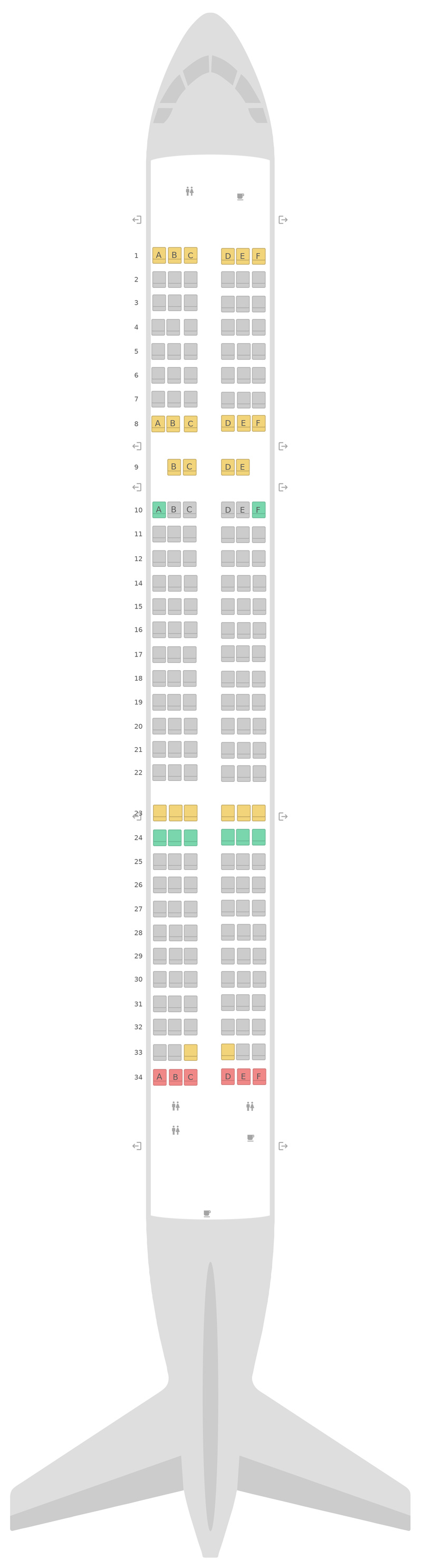 Seat Map Aegean Airlines Airbus A321