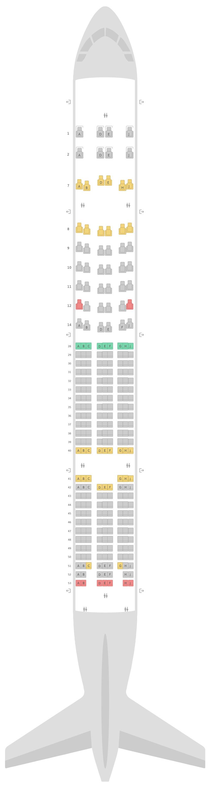 Схема салона Боинг 777-300ER (77W) v2 Корейские Авиалинии