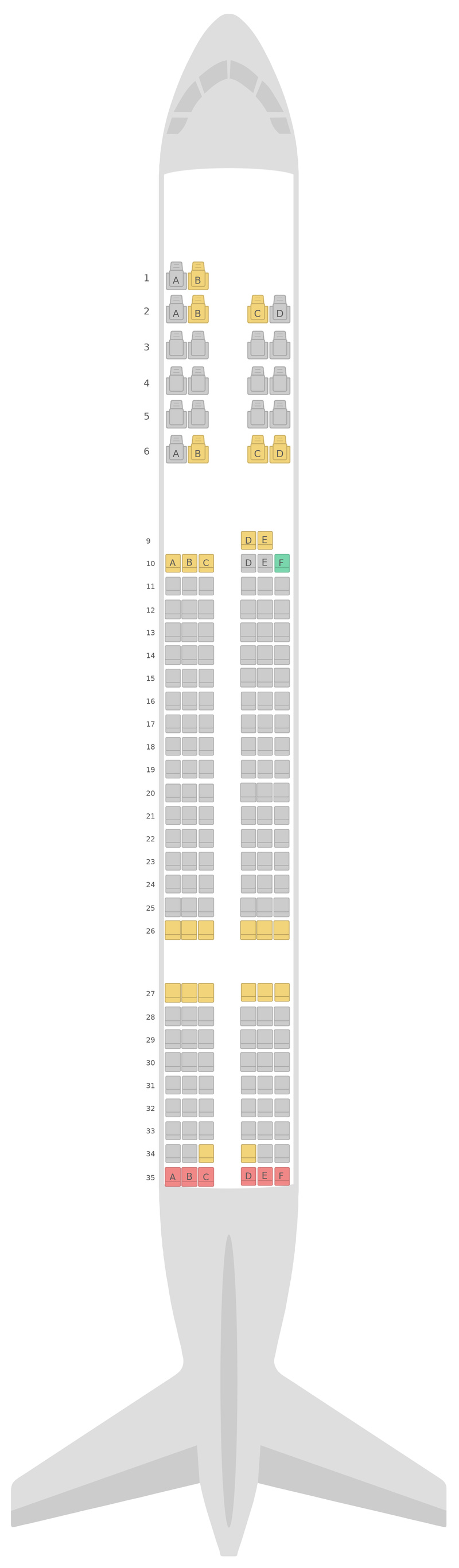 Mapa de asientos Boeing 757-200 (752) Azerbaijan Airlines