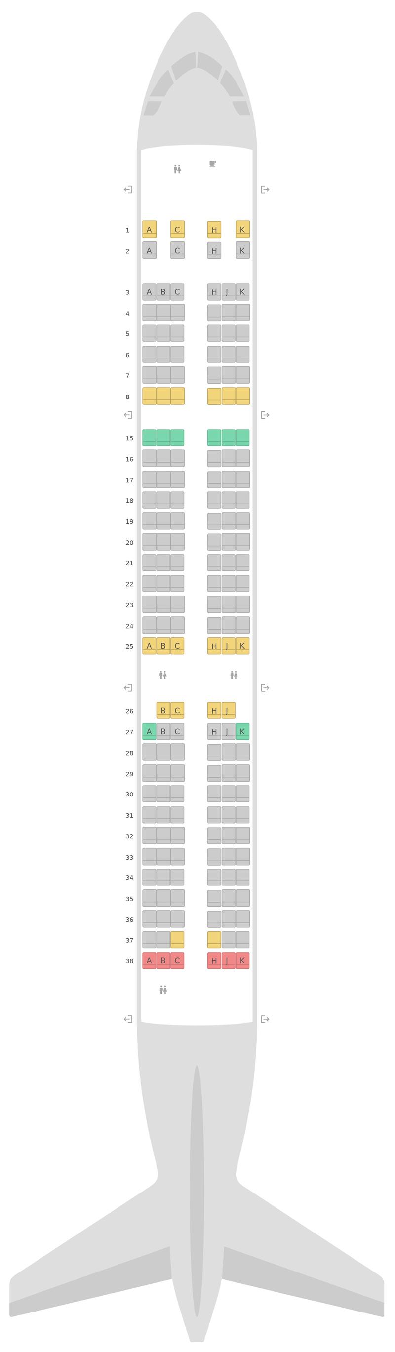Mapa de asientos Airbus A321 2 Class Air Transat