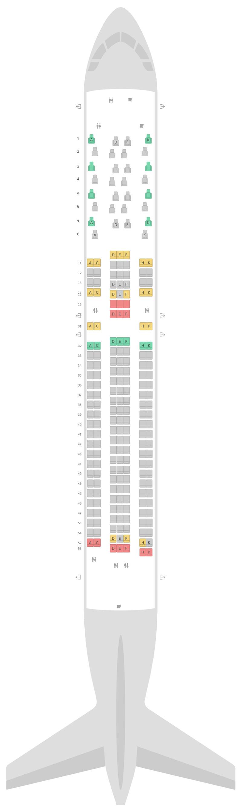 Seat Map Air Astana Boeing 767-300ER