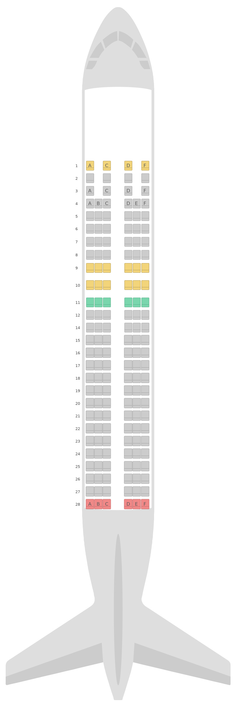 Sitzplan Airbus A320 Bangkok Airways