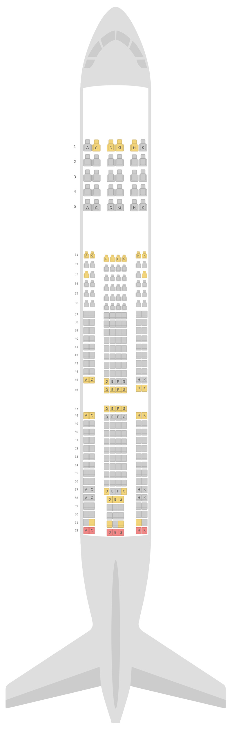 Seat Map China Southern Airlines Airbus A330-300 (333) v5