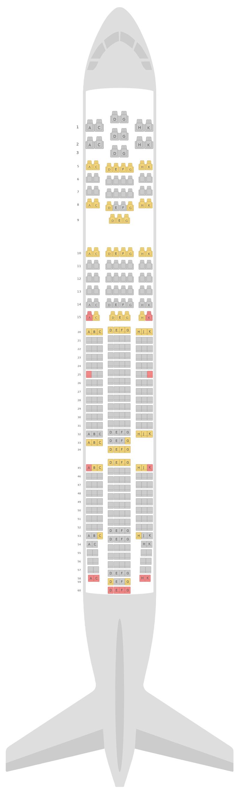 Схема салона Боинг 777-200 (777) Японские авиалинии