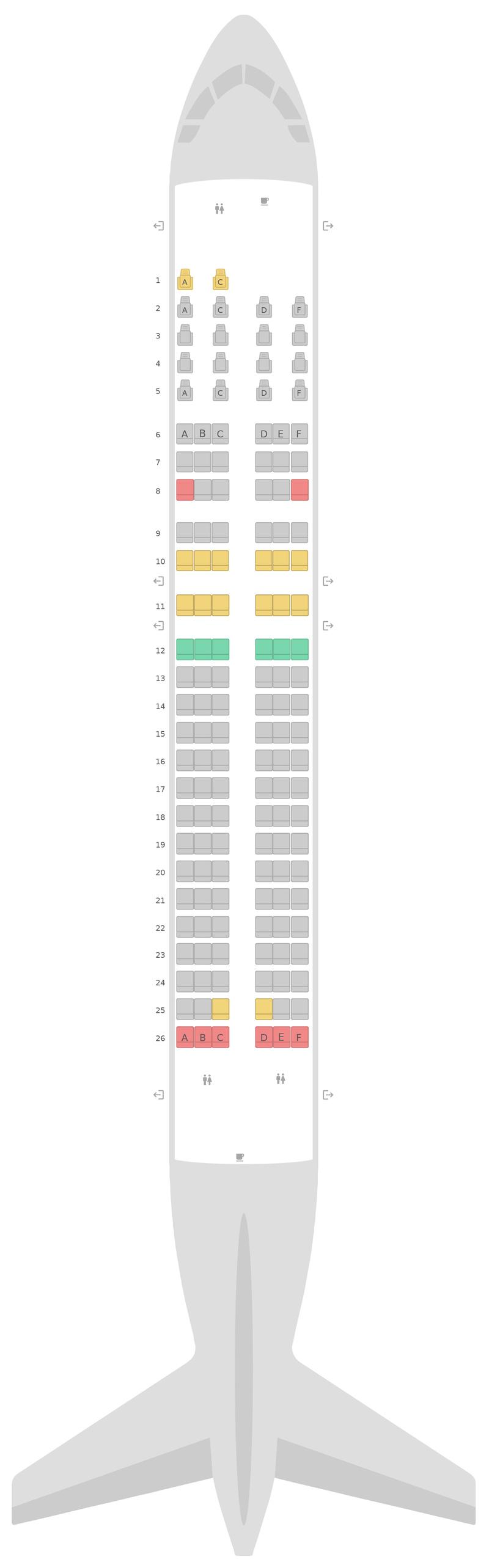 Схема салона Боинг 737-400 (734) ЛОТ Авиалинии