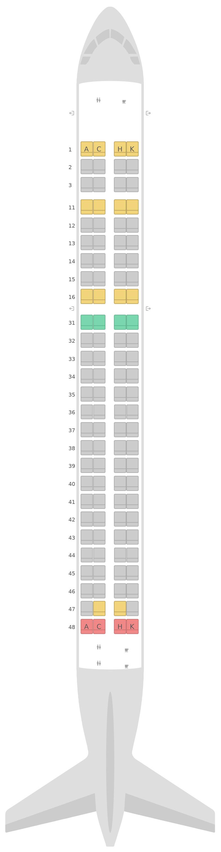 Mapa de asientos Embraer E190 (E90) v2 Air Astana