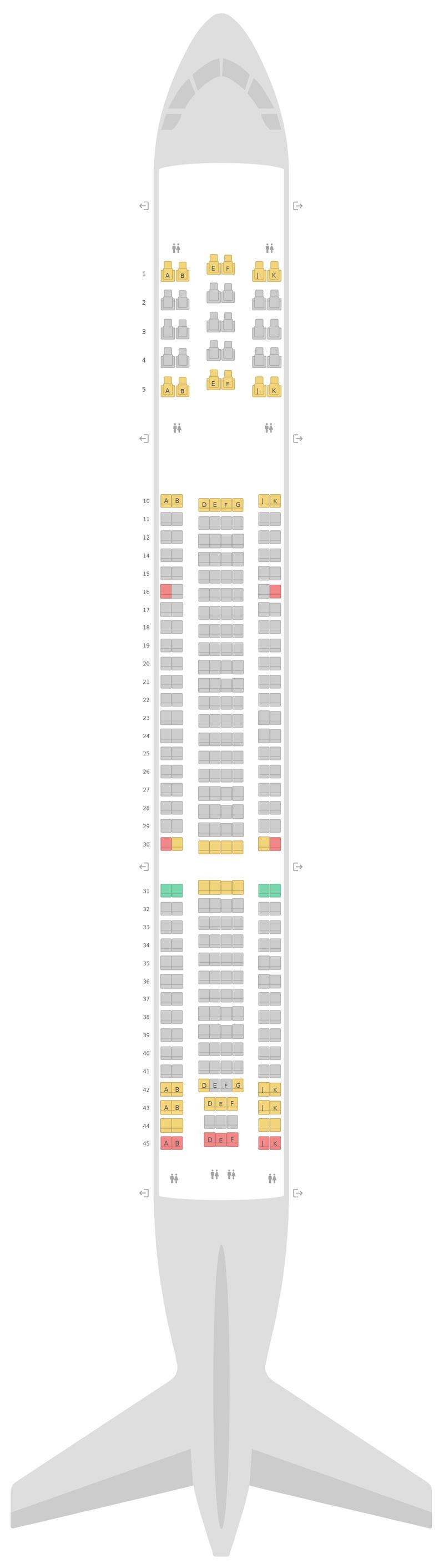 Mapa de asientos Airbus A330-300 (333) v2 Qatar Airways