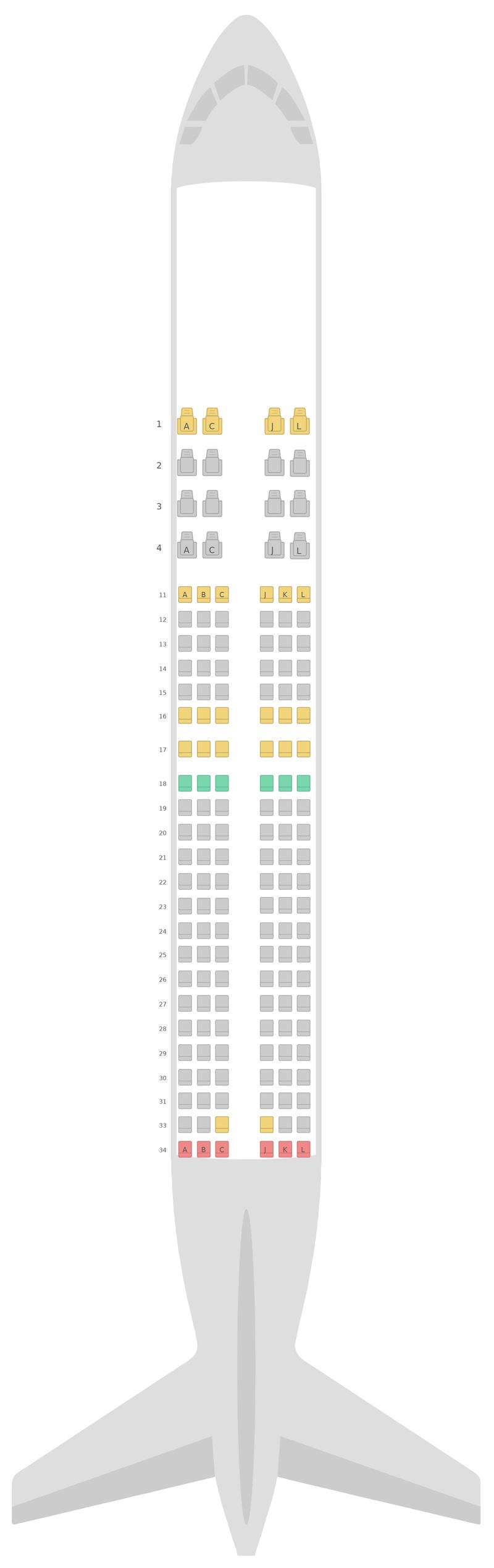 Схема салона Боинг 737-800 (738) Эфиопские авиалинии