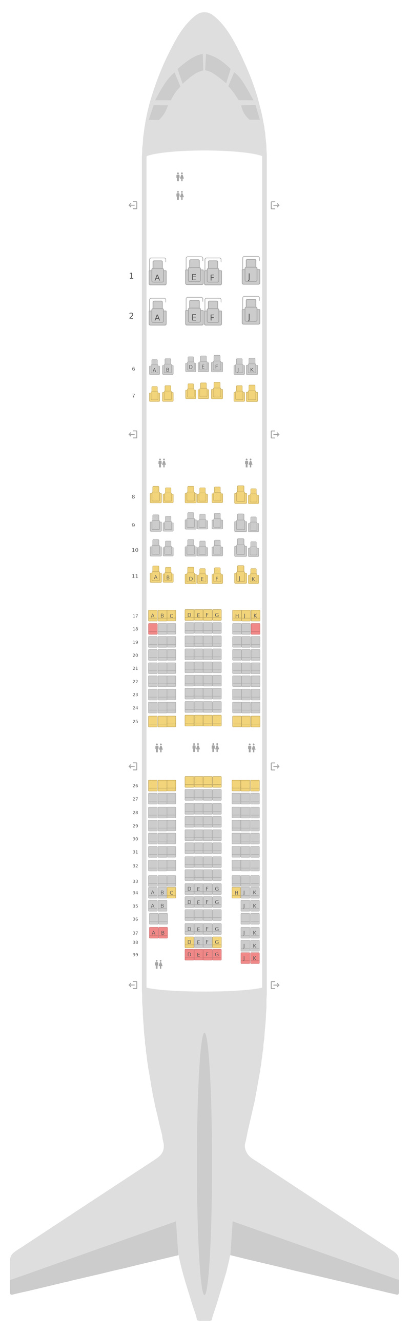 Mapa de asientos Boeing 777-200LR 3 Class Emirates
