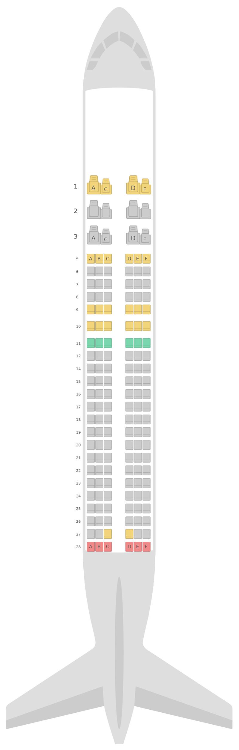 Seat Map SilkAir Airbus A320