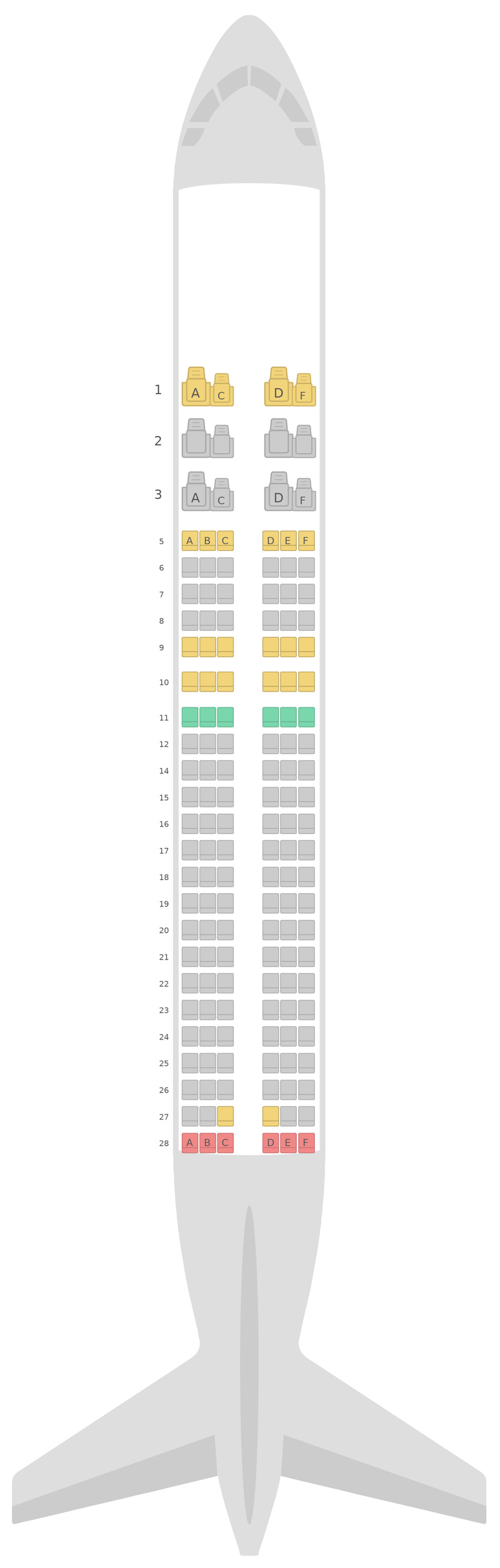 Схема салона Аэробус А320 SilkAir