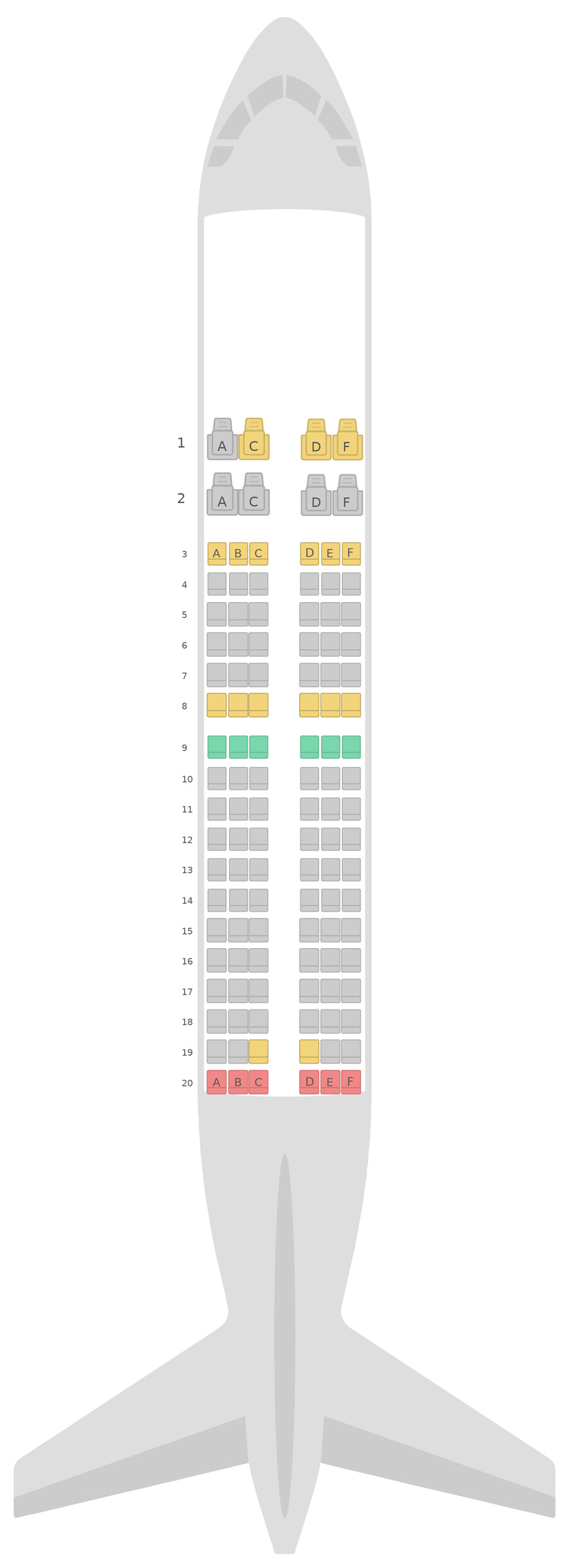 Seat Map Azerbaijan Airlines Airbus A319 v1