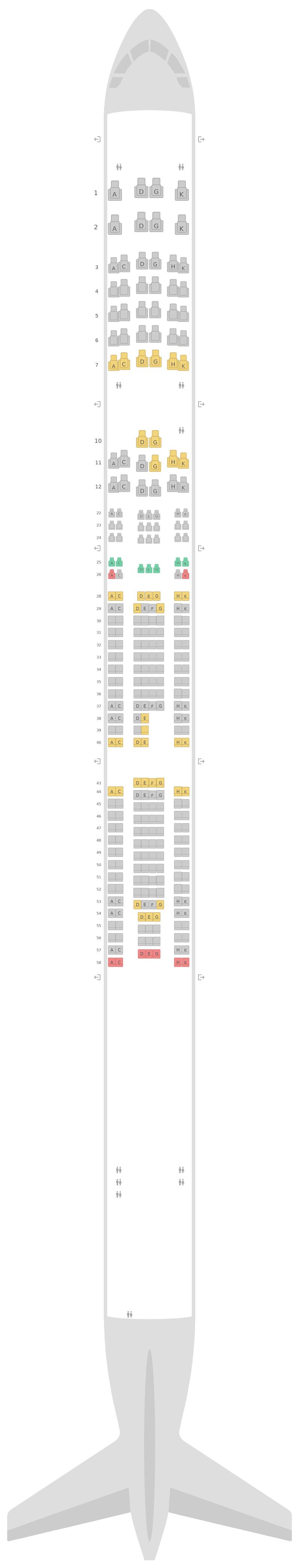Схема салона Аэробус А340-600 (346) v1 Люфтганза