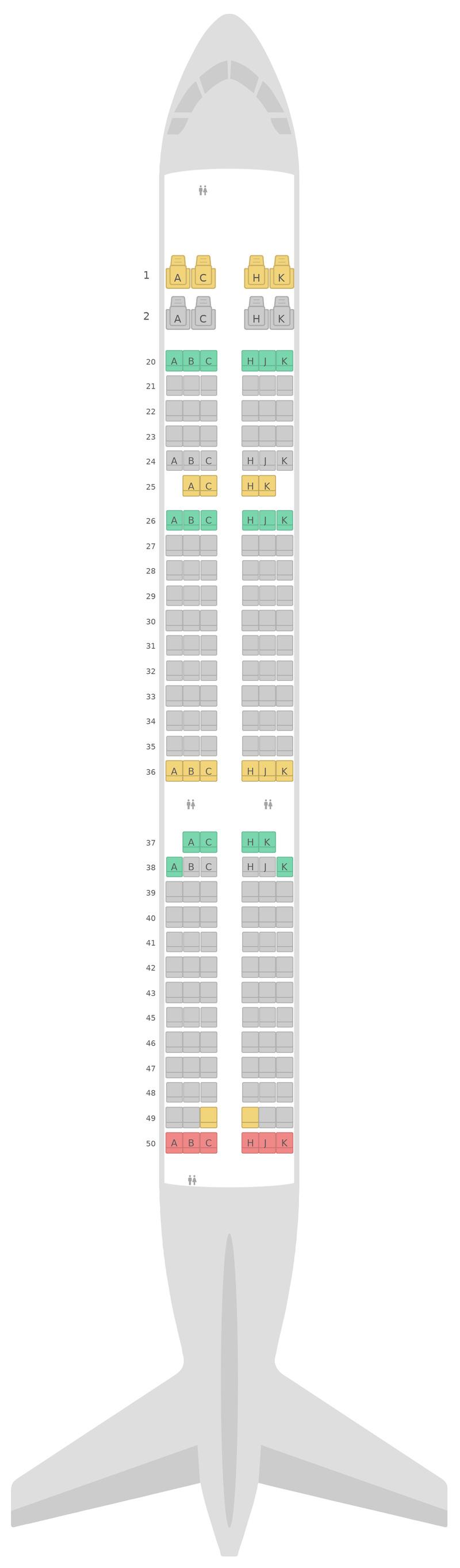 Sitzplan Airbus A321 EVA Air