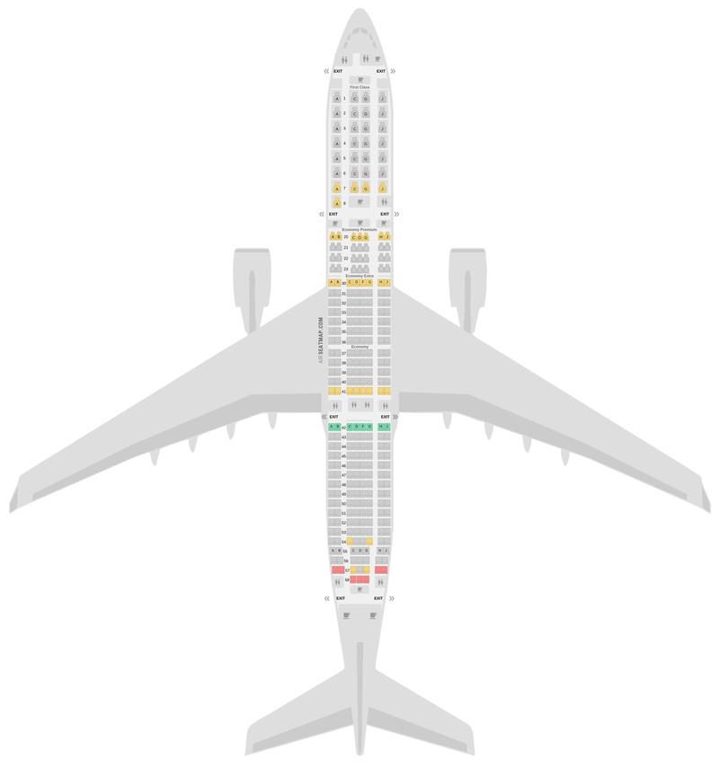 Sitzplan Airbus A330-900neo (339) Delta Air Lines