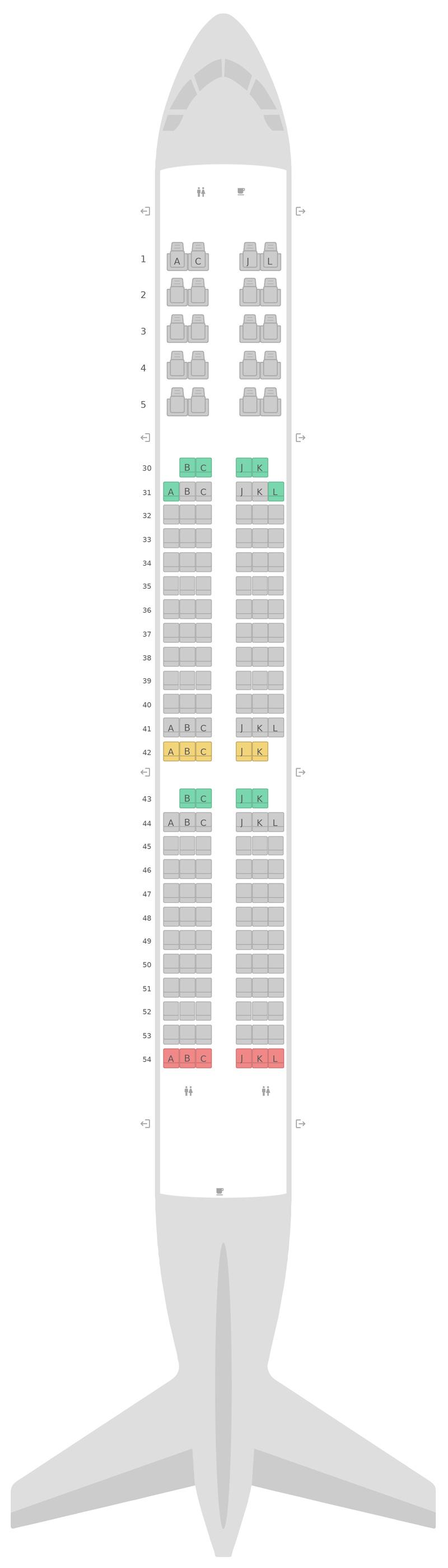 Mapa de asientos Airbus A321 Saudi Arabian Airlines