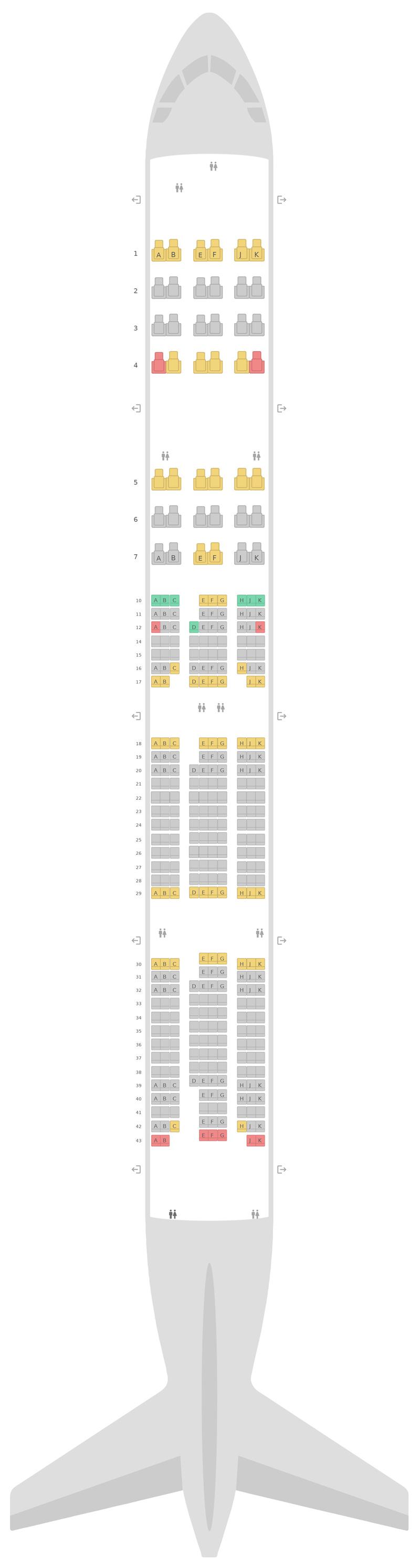 Sitzplan Boeing 777-300ER (77W) v4 Qatar Airways