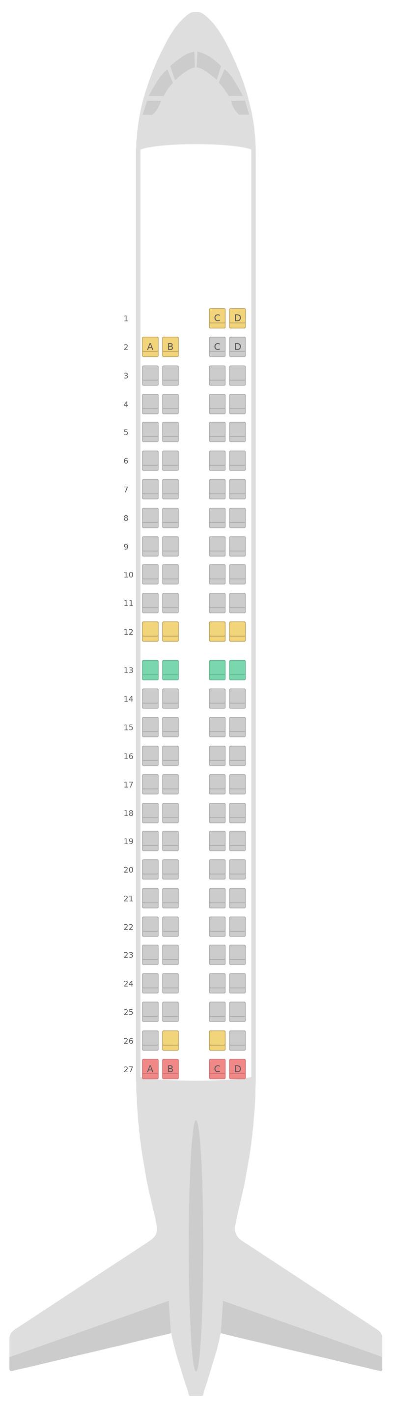 Sitzplan Embraer E190 (E90) Azul Airlines