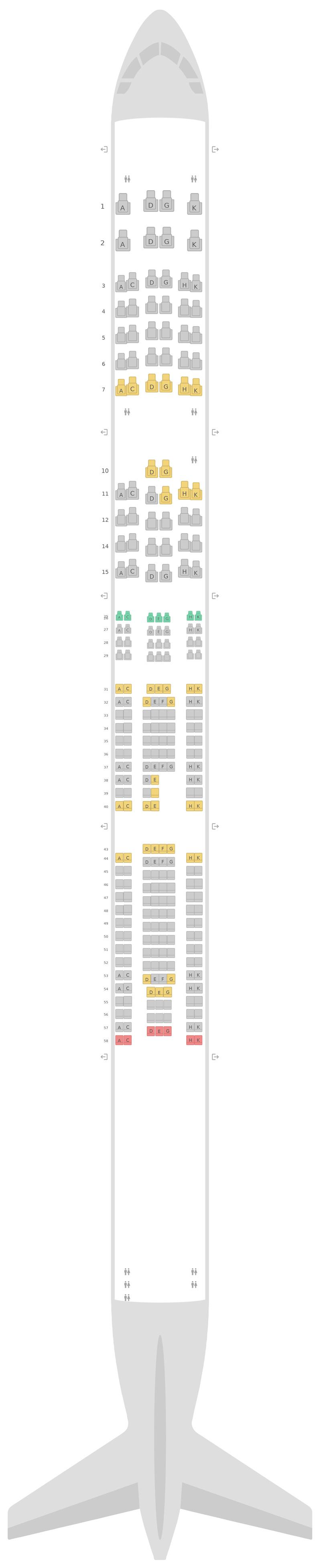 Mapa de asientos Airbus A340-600 (346) v2 Lufthansa