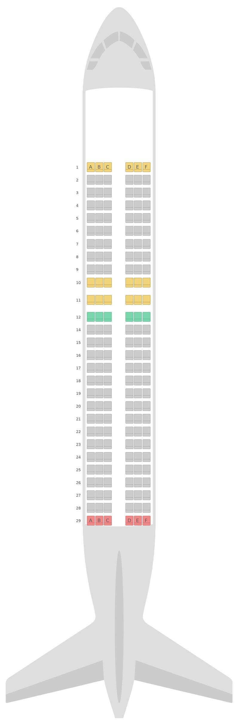 Sitzplan Airbus A320 Scandinavian Airlines (SAS)
