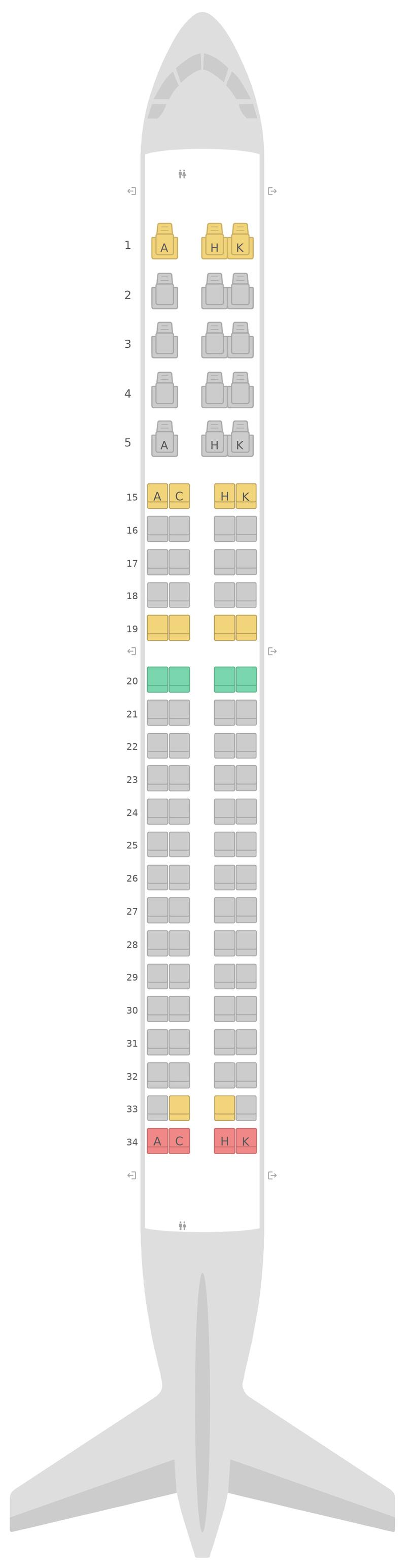 Mapa de asientos Embraer E190 (E90) Japan Airlines (JAL)