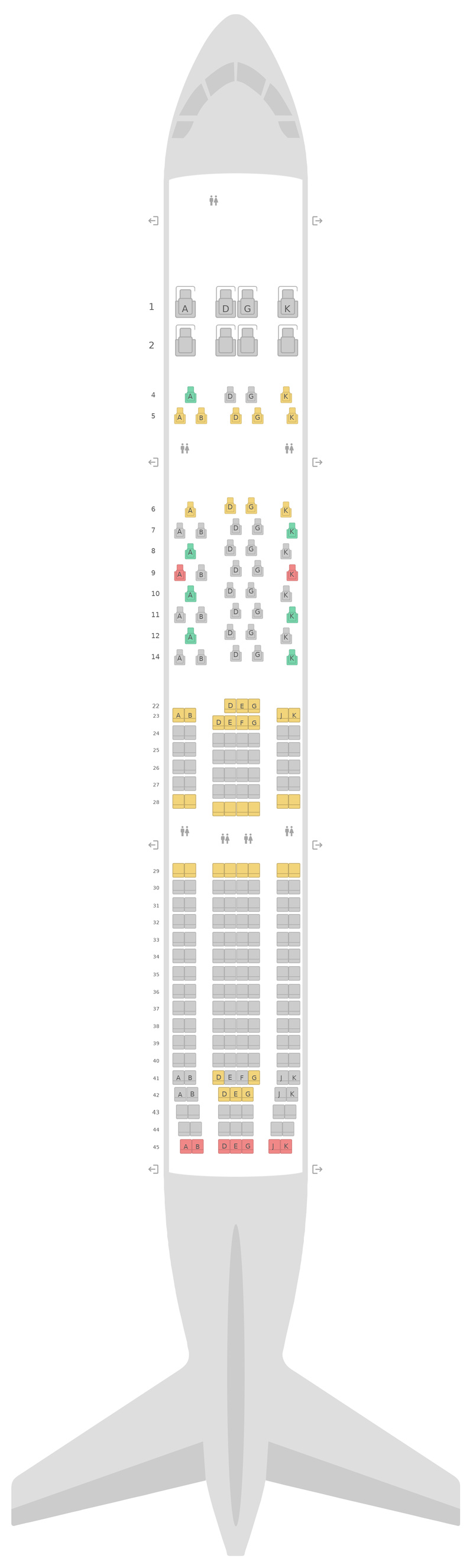 Seat Map Swiss International Air Lines Airbus A330-300 (333)