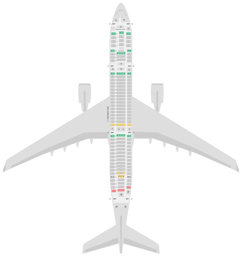 Mapa de asientos Airbus A330-300 (333) v4 Cathay Pacific