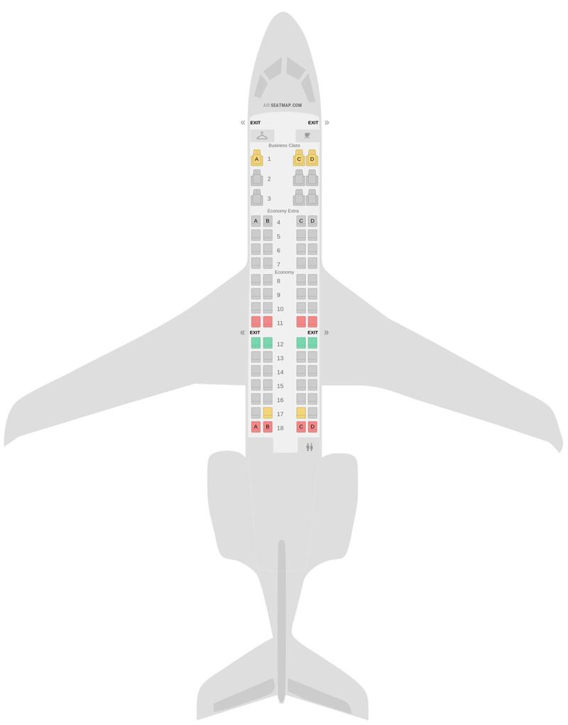Mapa de asientos Bombardier CRJ700 (CR7) Delta Air Lines
