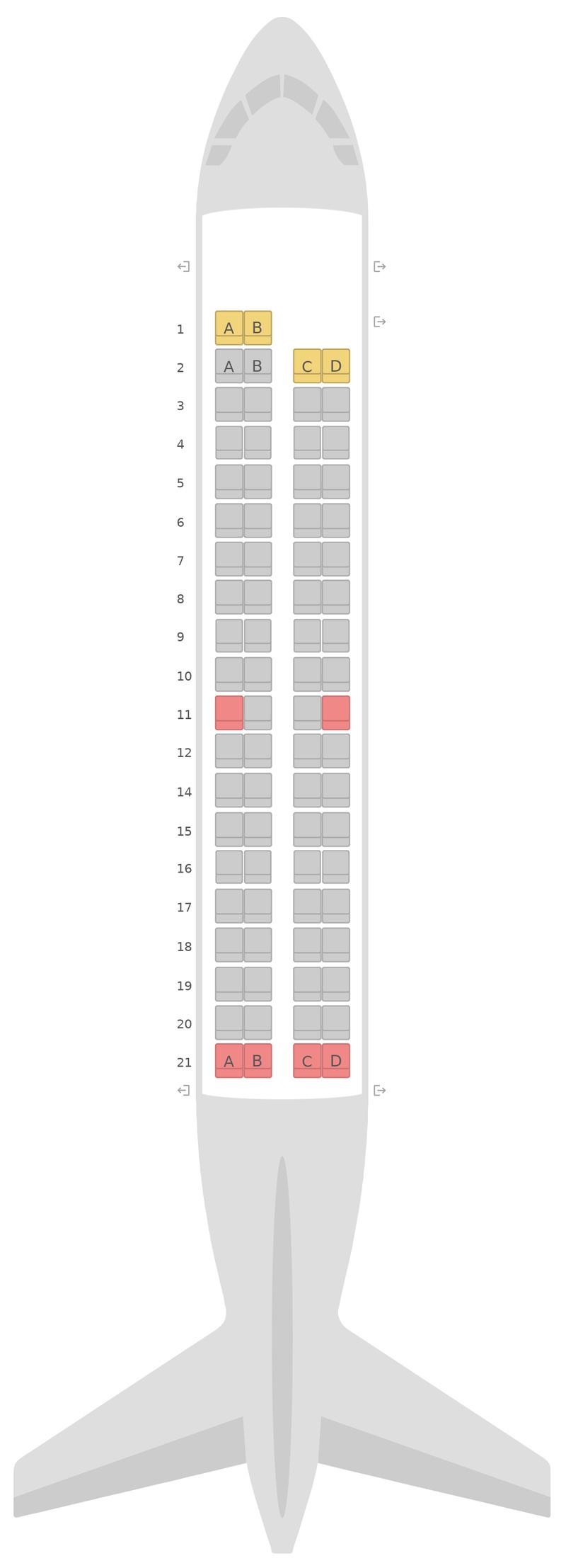 Схема салона Бомбардир Q400 (DH4) Aegean Airlines