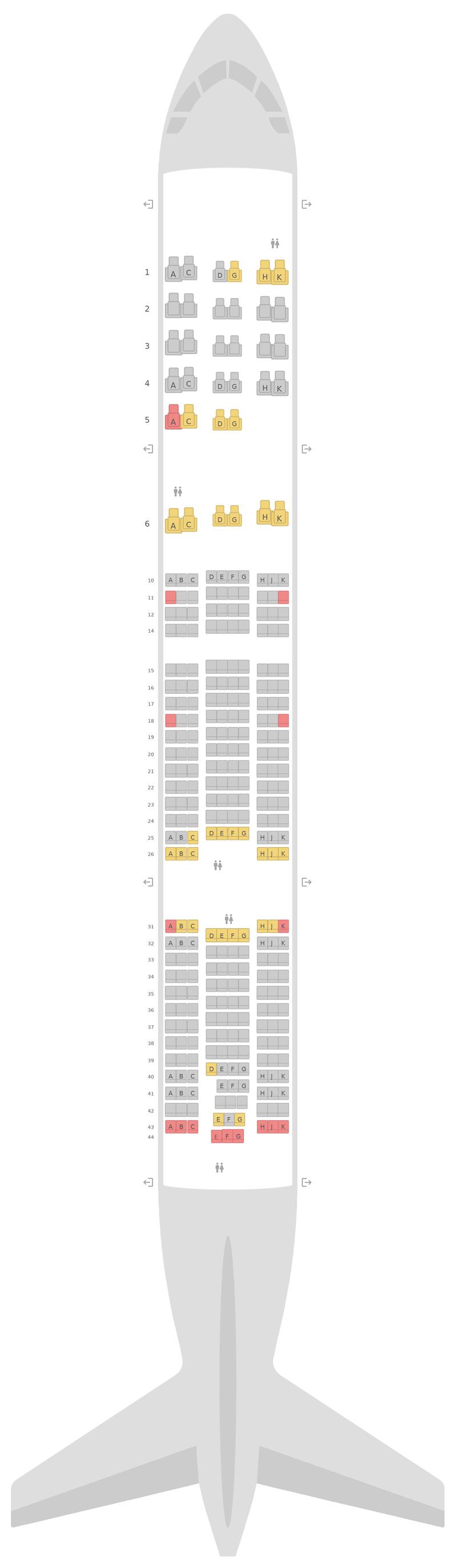 Схема салона Боинг 777-200ER KLM
