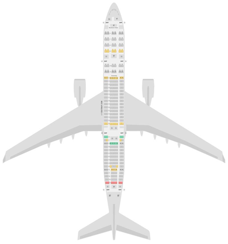 Seat Map Garuda Indonesia Airbus A330-300 (333) 2 Class v1