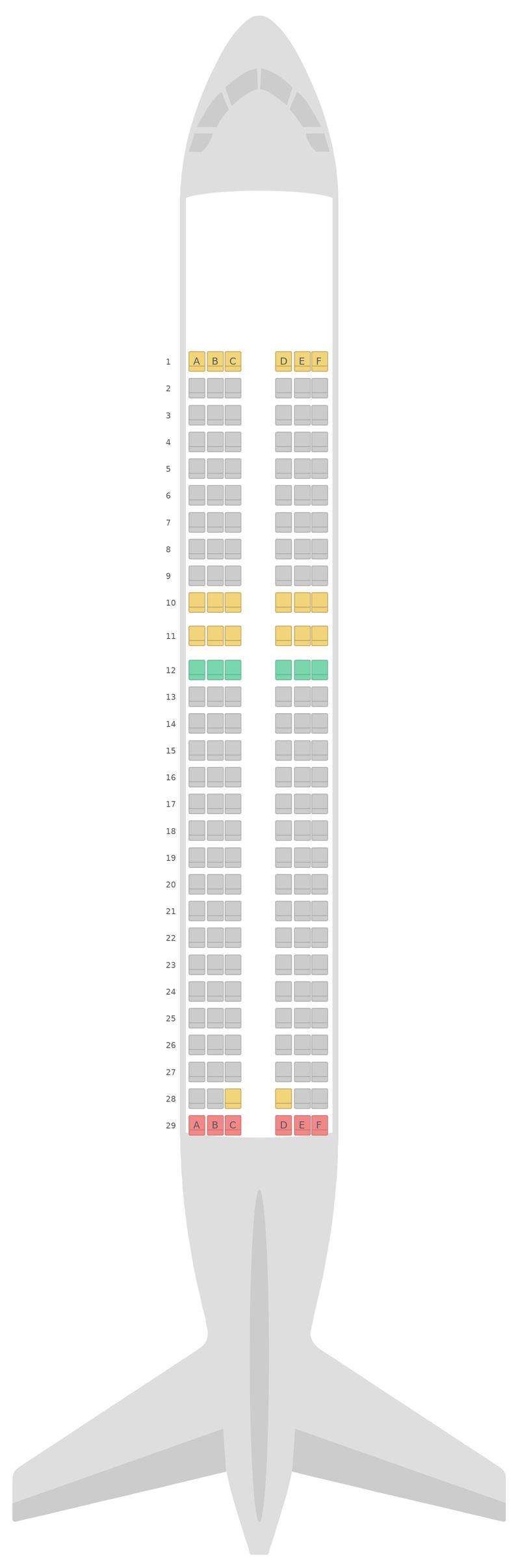 Схема салона Аэробус А320 нео (32N) Azul Airlines