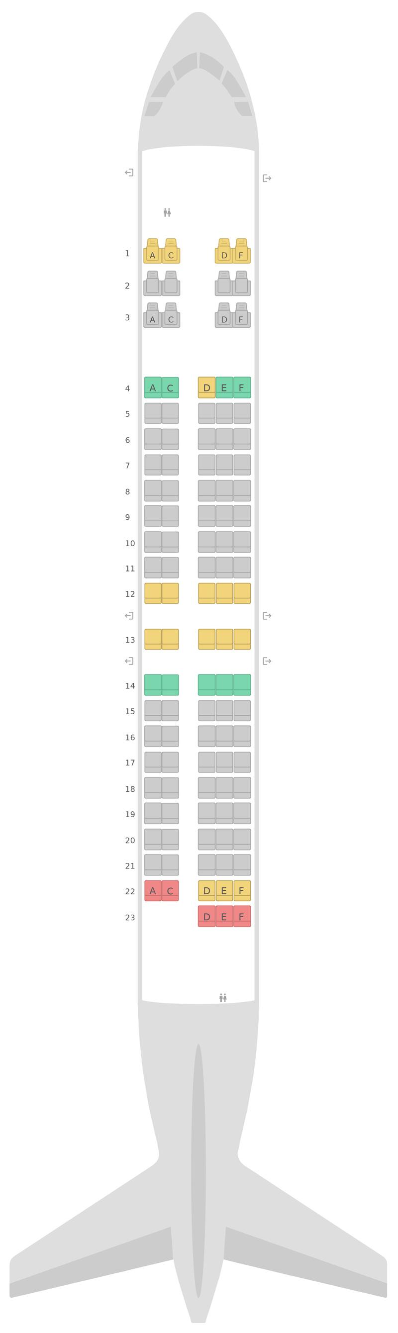 Mapa de asientos Boeing 717-200 2 Class Qantas