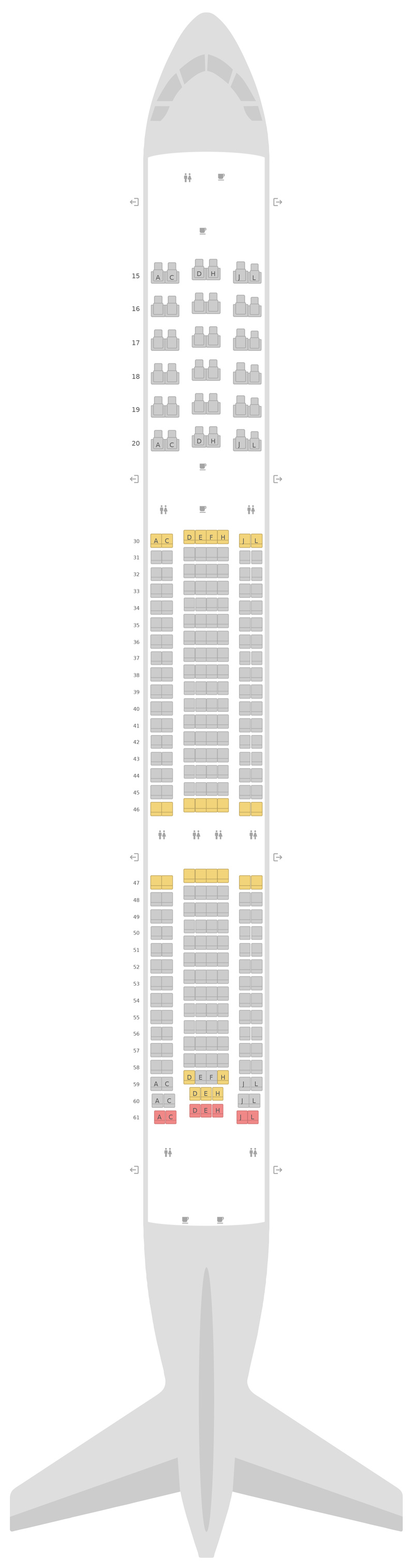 Seat Map Airbus A330-300 (333) v2 Saudi Arabian Airlines
