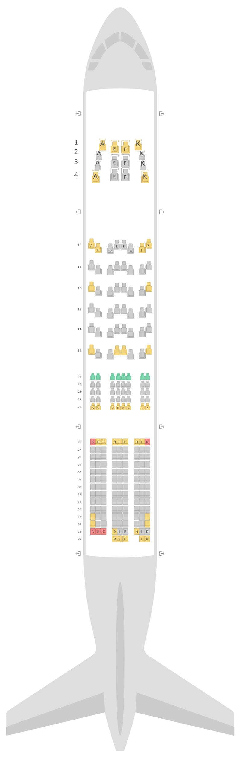 Схема салона Боинг 777-200 (777) 4 Class v1 Бритиш Эйрвейз
